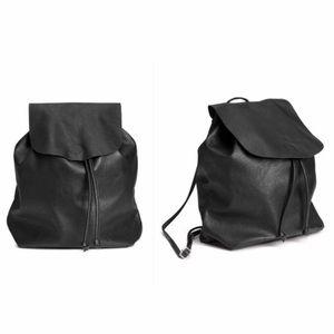 Divided Black Began Leather Drawstring Backpack